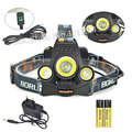 3T6 8000Lm Usb Headlight 3x XM-L T6 LED Linternas Frontales Cabeza Flashlight Headlamp Head Light+2x18650 Battery+Usb/Ac Charger