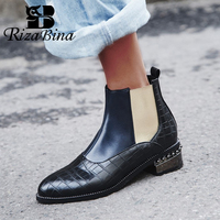 RIZABINA Size 32 48 Woman Boots Fur Winter Warm Ankle Chelsea Boots Woman Shoes Mixed Color Beads Short Boots Ladies Footwear