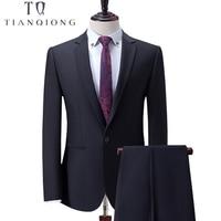 Тянь QIONG черный Бизнес Для мужчин костюмы индивидуальный заказ, заказ классические Нарядные Костюмы для свадьбы для Для мужчин, индивидуаль