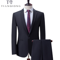 TIAN QIONG Black Business Men Suits Custom Made, Bespoke Classic Wedding Suits For Men, Tailor Made Groom Suit Tuxedos For Men