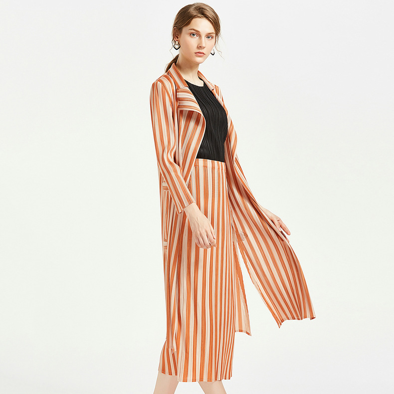 Estilo Tamaño Simple Trinchera trench Delgado Femenino Larga Otoño Mujer Miyake Skirt Trench Rayas Plisados 2018 Con Solapa Manga Más Coat FvwqxwCf