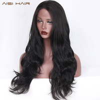 AISI HAIR Black Long Wavy Wig Synthetic Lace Front Wigs for Black Women Natural Part Heat Resistant Fiber Wig