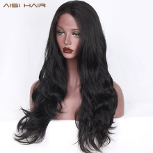 AISI HAIR Black Long Wavy Wig Synthetic Lace Front Wigs for