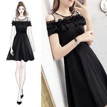 ICHOIX 2019 Summer Black A-Line Party Dress S-2XL Plus size women dress elegant Short mesh patchwork Women dresses