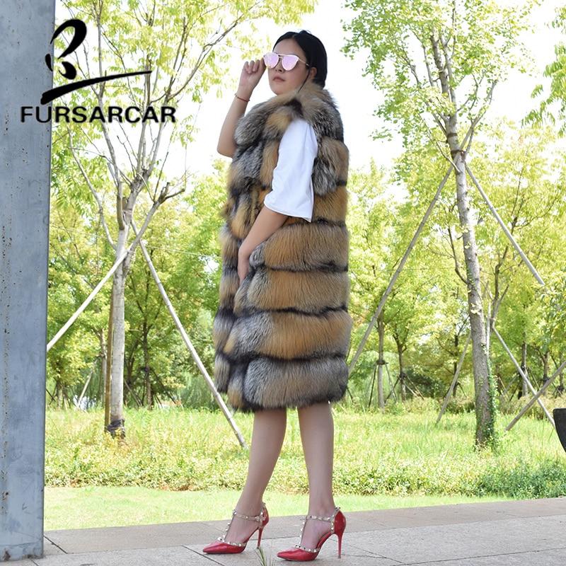 FURSARCAR 2018 New Real Fur Vest Women Long Style Natural Fox Fur Winter Waistcoat Luxury Fashion Fox Fur Gilets With Fur Collar