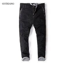 Nueva llegada estilo hombres negro jeans de alta calidad moda casual suelta pantalones  vaqueros de gran tamaño pantalones engord. 4eaf8c71b91a