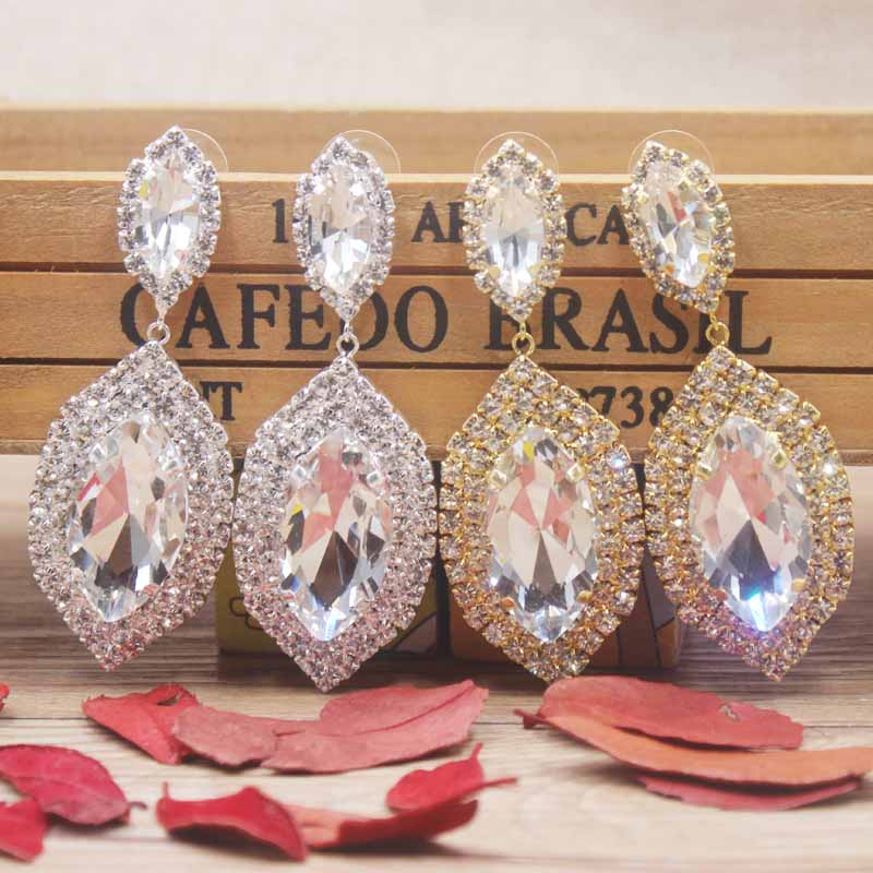 Zerong large rhinestone dangling earring Luxury jewelry drop crystal with big glass stone gold/silver wedding
