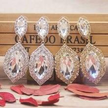 Zerong large rhinestone dangling earring Luxury jewelry drop crystal with big glass stone gold/silver wedding