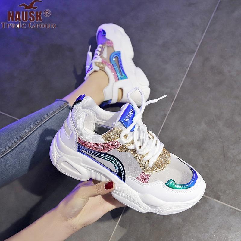 NAUSK 2019 New Women Shoes Spring Sneakers Women Fashion Bling Platform Shoes Ladies Footwear Breathable Mesh Sneakers