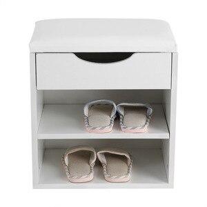 Image 2 - ホーム靴ラック木製靴収納オーガナイザーホルダーキャビネットパッド入りシートリビングルーム家具の靴キャビネット