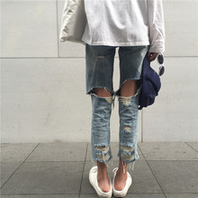 2017 new spring and summer Korea ulzzang Harajuku wind before and after drawing straight hole denim pants pants loophole jeans