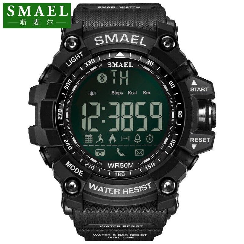 SMAEL De Luxe Marque Montre Smart Watch Hommes Avec BT Appel/SMS/Twitter/Facebook/Whatsapp/Skype Rappel sport Étapes Comptage Montre