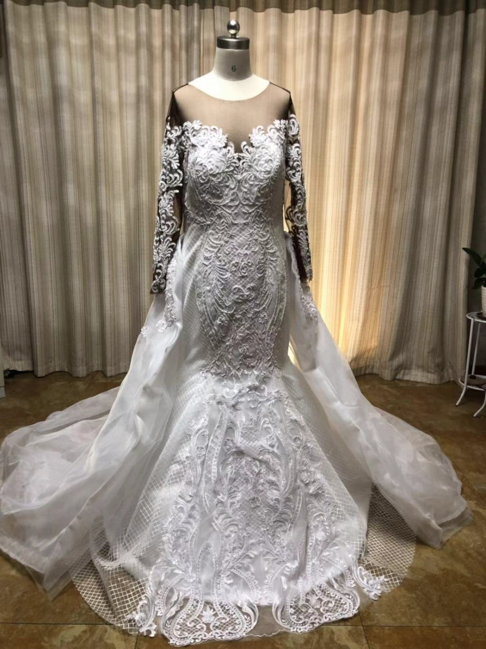 US $245.99 18% OFF|2019 Lace Long Sleeve African Wedding dresses Two piece  Casual Wedding dresses plus size Detachable Train Robe de marie-in Wedding  ...