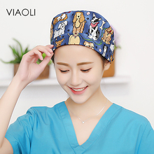 Viaoli surgical caps for women with sweatband 100% cotton Medical caps in blue with cute pattern
