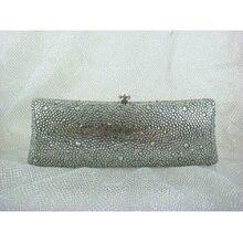 7757ZG GRAY Crystal Lady fashion Bridal Party Night Metal Evening purse clutch bag case box handbag