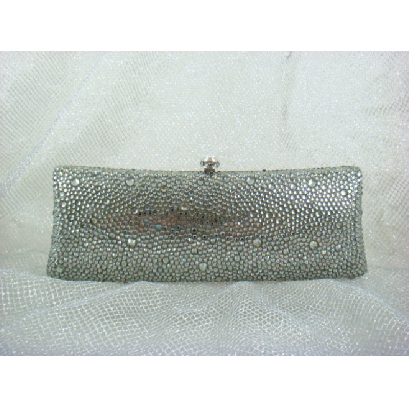 ФОТО 7757ZG GRAY Crystal Lady fashion Bridal Party Night Metal Evening purse clutch bag case box handbag