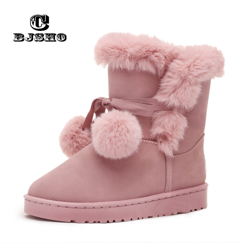 new images of fine quality hot sale online CBJSHO Female Flats Hair Ball Fluffy Ankle Boots for Women Furry Warm Plush  Winter Snow Boots 2017 Woman Fashion Platform Shoes