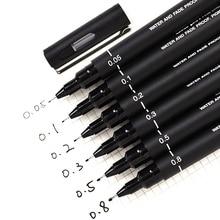 6 шт./лот, ручка для рисования, карандаш, ультра тонкая линия, художественный маркер, черные чернила 005 01 02 03 05 08 микрон, ручка для рисования, для офиса, школы, набор