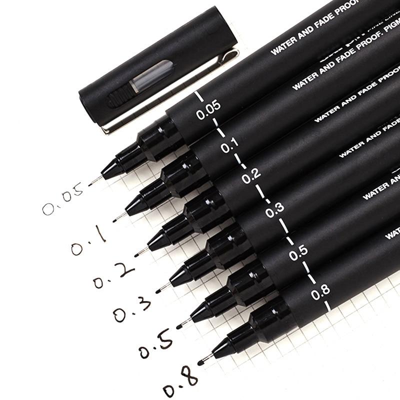 6 pçs/lote Pino de Desenho Caneta Fineliner Ultra Linha Fina Arte Marcador caneta de Tinta Preta 005 01 02 03 05 08 Micron Desenho Caneta Escola Escritório Conjunto