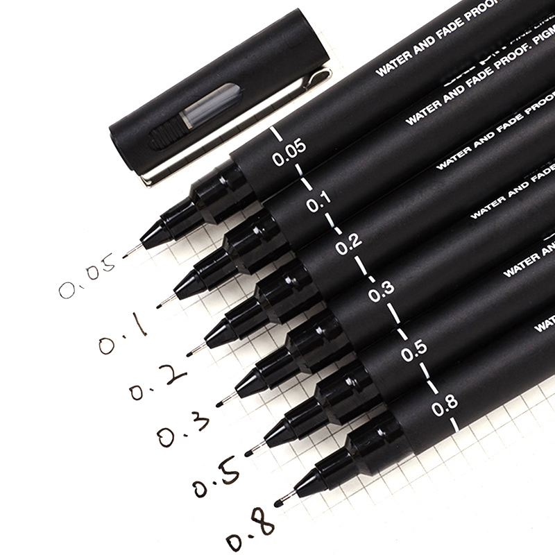 6pcs/lot Pin Drawing Pen Fineliner Ultra Fine Line Art Marker Black Ink 005 01 02 03 05 08 Micron Drawing Pen Office School Set