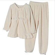 Зимняя одежда для нового месяца, плотная теплая Фланелевая Пижама для беременных женщин, домашняя одежда для кормления грудью, однотонный повседневный костюм
