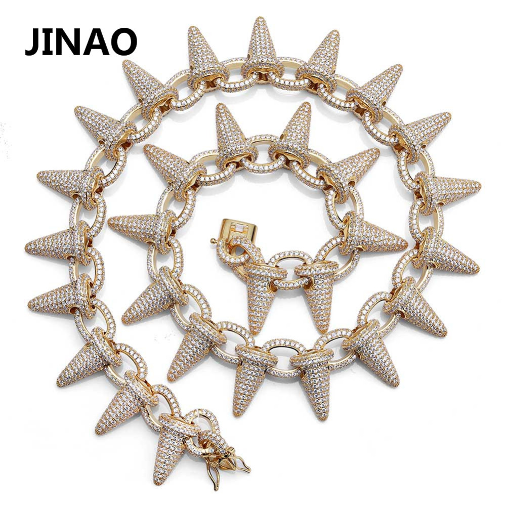 Luxury Heavy Punk Fashion Rock Iced Out Rivet Spikes Cuff Necklace Chain Bling Cubic Zircon Hip Hop Gold Silver Gifts for Male