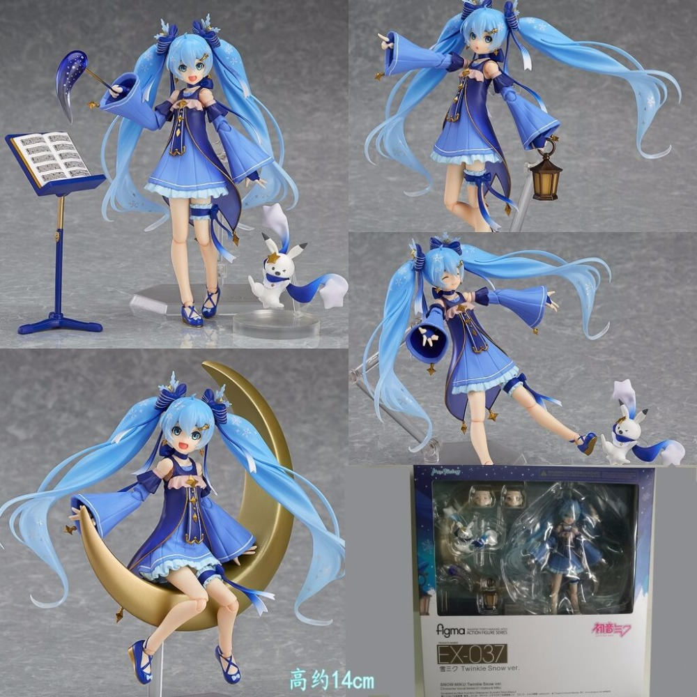 Anime Vocaloid Hatsune Miku Figma EX-037 Twinkle Snow Ver. Figma 307 PVC Action Figures Collectible Model Kids Toys Doll 14CM free shipping 6 volcaloid hatsune miku with guitar ver boxed 14cm pvc action figure collection model doll toy figma 200