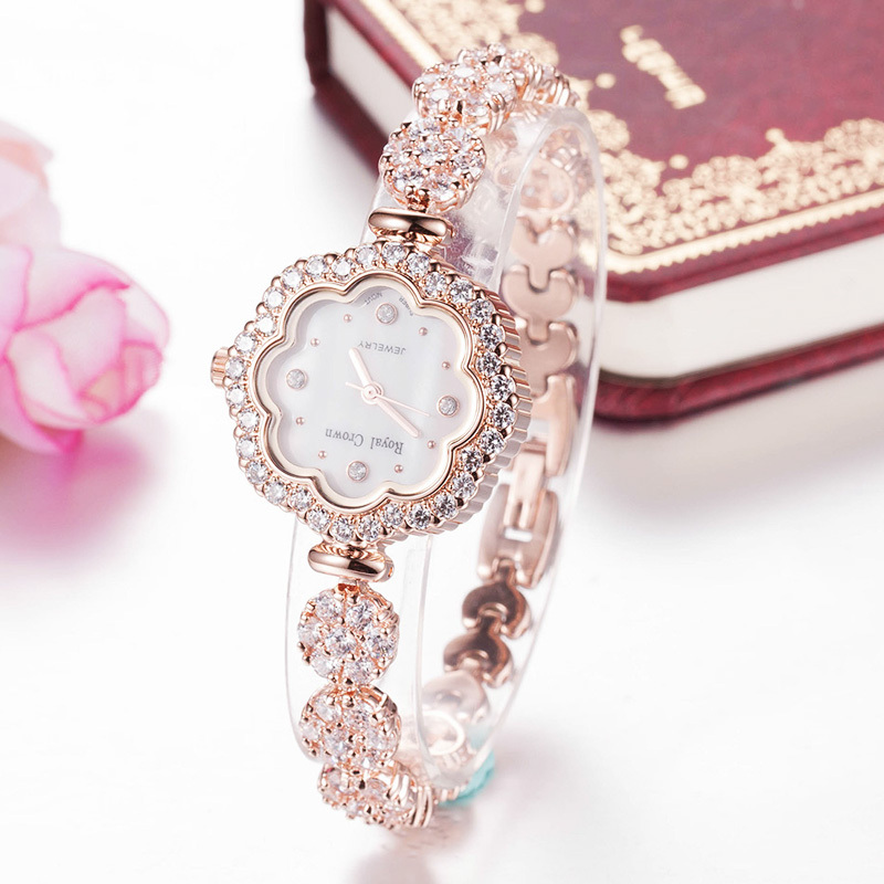Shell Luxury Rhinestones Sunflower Women's Watch Royal Crown Hours Fine Fashion Dress Bracelet Girl Birthday Gift  3816