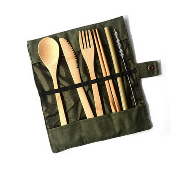 DHL 50set Dinnerware Wooden Cutlery Set Bamboo Cutlery Straw With Cloth Bag Kitchen Food Tableware Dinner