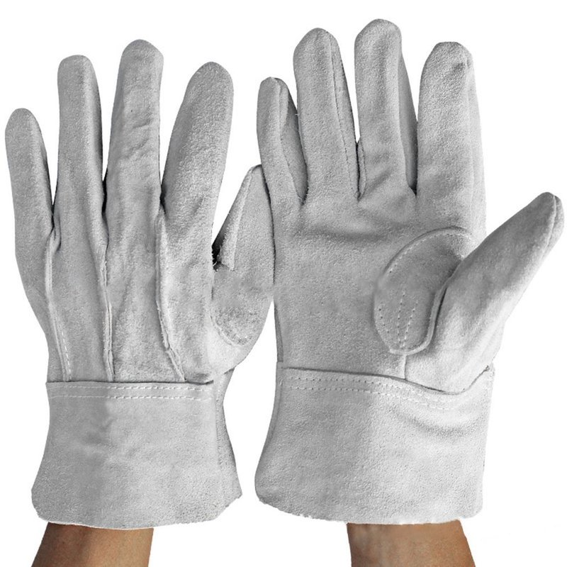 Dropshipping Gray Cowhide Leather Gloves Welder Men Work Gloves Mechanic Gloves Comfortable Anti-Heat Safety Protective strong 0 35mmpb medical x ray protective gloves ray workplace use gloves lead rubber gloves