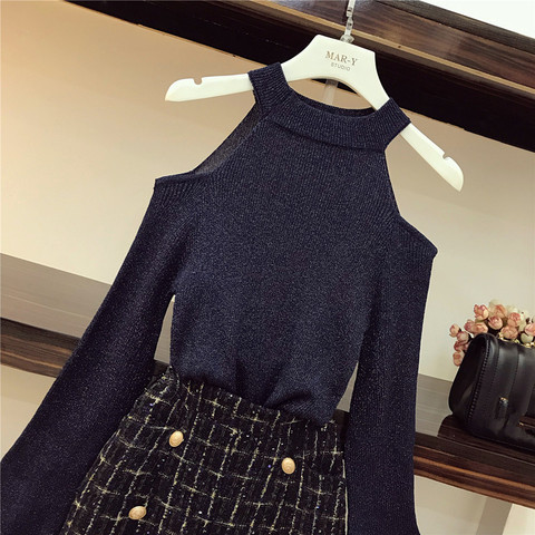 Chic Tweed Skirt 2 Piece set Women Fall Winter Ins Fashion Sexy Bare Shoulders Knit Sweater + Button Plaid Split Tweed Skirt Set Karachi