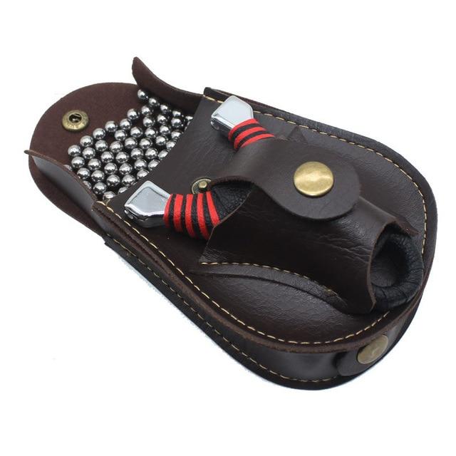 Professional steel ball Slingshot package Outdoor sports leather Slingshot bag back through the belt for hunting 1