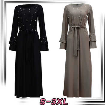 2019 Abaya Dubai Kaftan Islam Qatar Oman Pearls Muslim Hijab Dress Jilbab Robe Caftan Abayas For Women Turkish Islamic Clothing - Category 🛒 Novelty & Special Use