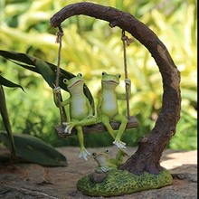 For decoration rustic resin frog garden sculpture crafts animal decoration artificial sculpture crafts as garden home decoration
