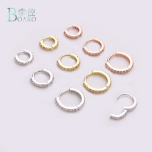 BOAKO 1pc Nose Hoop Nostril Ring Flower Helix Cartilage Tragus Jewelry Zircon Earring Rings Body Fake Piercing B40