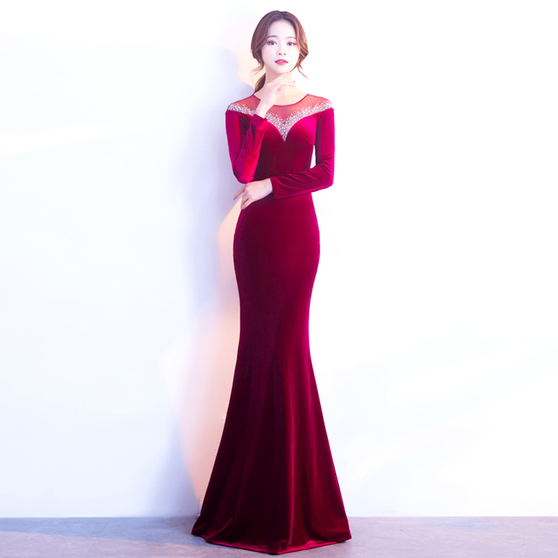 Fashion Red Sequins Mermaid Evening Party Dress Long Sleeves Elegant Women Formal Elegant Dress Party Sexy Dresses 2019 Drop