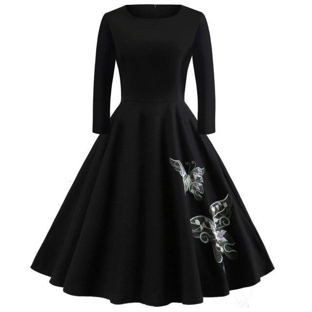 73358dd63b34f Kenancy Women Vintage Dress Autumn Winter Solid Embroidery Butterfly Party  Dress Long Sleeve Swing Rockabilly Dresses Plus Size