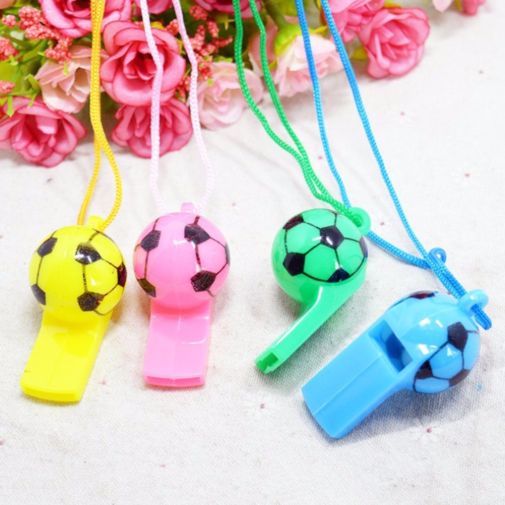2 Pcs Random Color Football Soccer Rugby Cheerleading Whistles Pea Fans Whistle For Kids Musical Instrument Toys