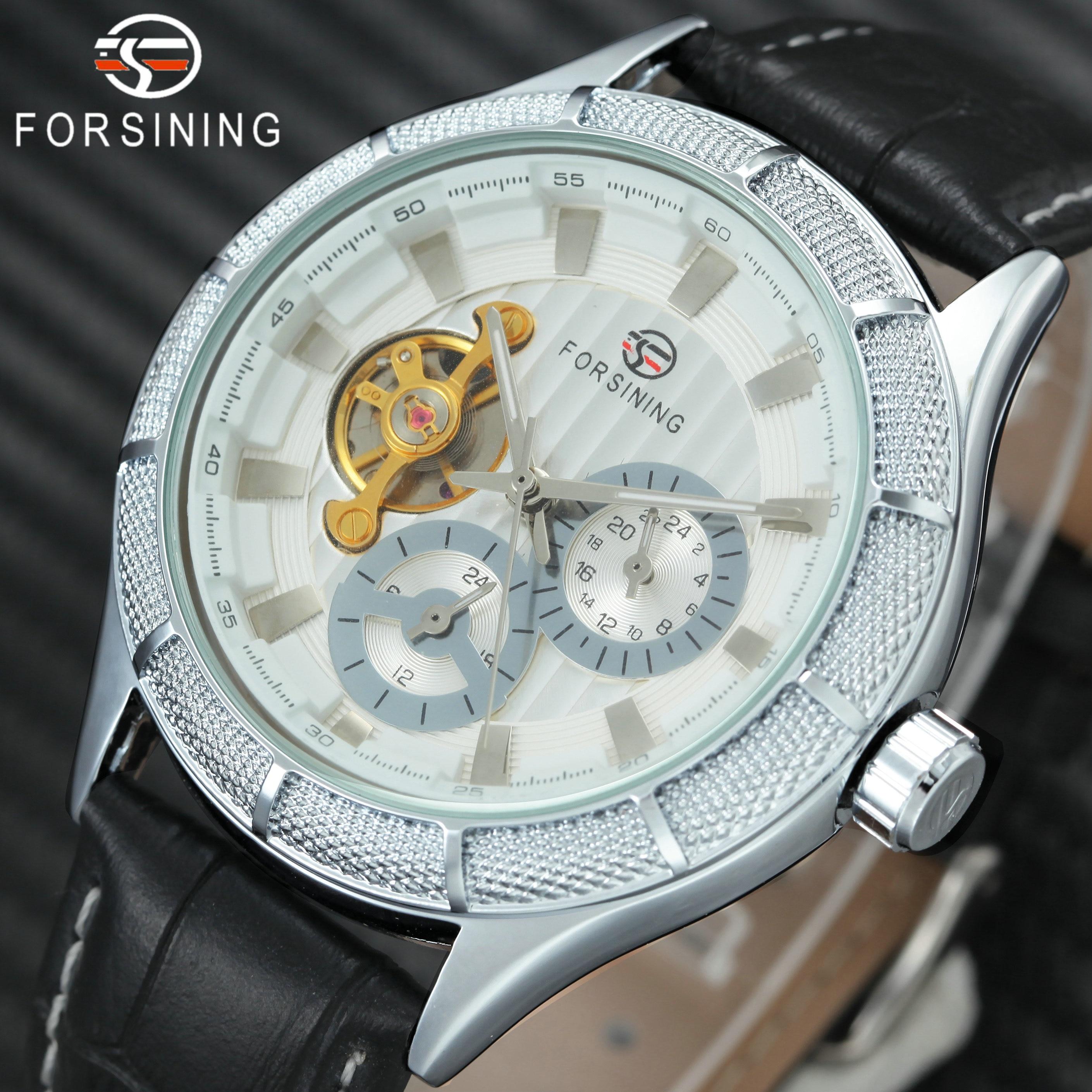 все цены на FORSINING Top Brand Luxury Tourbillon Skeleton Mechanical Watch Men Leather Strap 2 Sub-dials Fashion Classic Wrist Watches 2018 онлайн