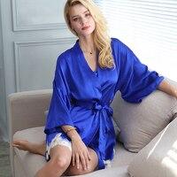 100% натуральный шелк Для женщин спальный тенденции моды халат наборы высокое качество mulbery одноцветное Пижама комплект одежды для дома три ч