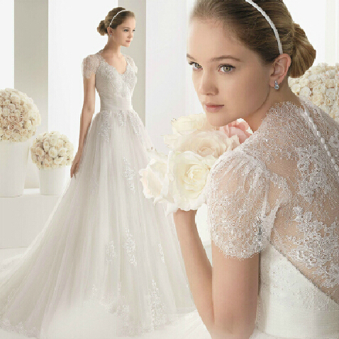 Romantic Wedding Dress French Style V neck Slim The Princess Bride ...