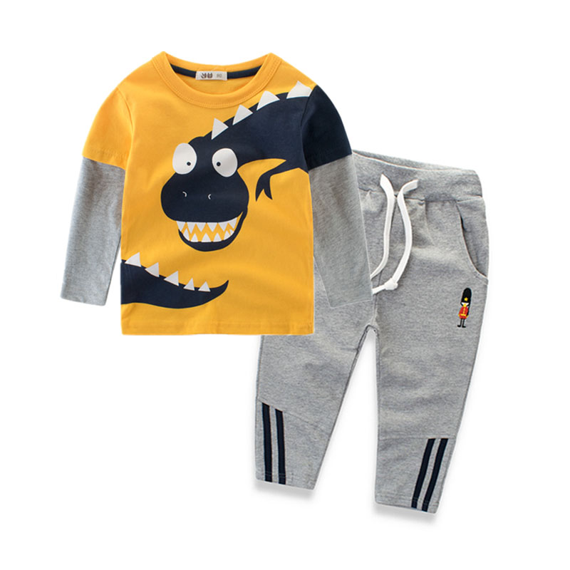 2018 Novelty Dinosaur Boys Sets Clothing 100% Cotton Long Sleeve Kids T Shirt and Pants 2-8 Years Children Clothes Spring Autumn