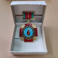 1980 Original USSR Rescue Chernobyl Nuclear Power Plant Medal Copper Enamel With White Paper Box Collection Remember Hero Badge