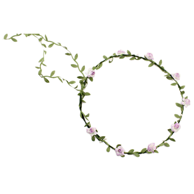 2 pcs Lady Boho Floral Flower Festival Wedding Garland Forehead Hair Head Band Lavender