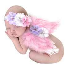 Cute Feather Lace Headband & Angel Wings Flowers Hairband Photo Prop Outfit Baby Girl Angel Feather Wing Costume with Headband