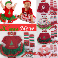 4pcs/set Christmas Tree Print Baby Girls Clothes jumpersuit+socks+band+shoes New Year Bebe Gift First Rompers Costumes 3 6 9 12M