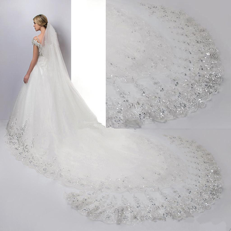 4 Meters Cathedral Long Train Wedding Veils With Crystal Lace