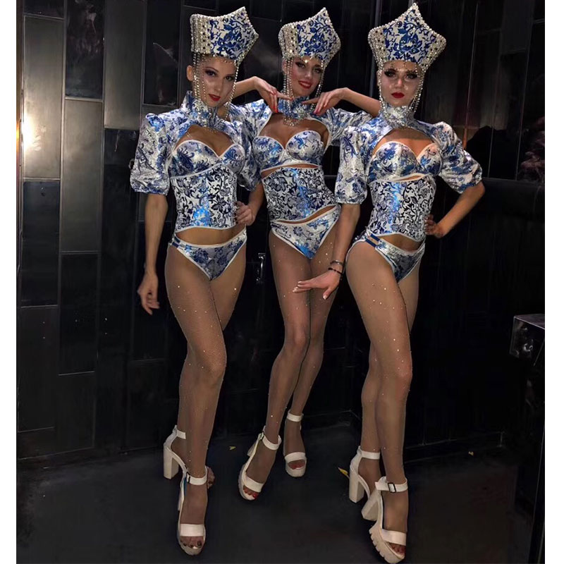 Blue and white porcelain stage costume sets Fashion female singer costume stage sexy slim clothing bar ds dj jazz dance outfit