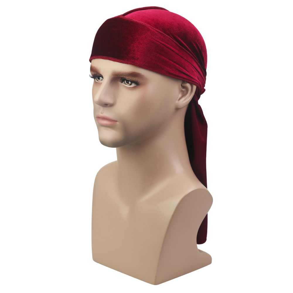 Soft Durag Headwraps with Extra Long Tail and Wide Straps for 360 Waves Luxury Velvet Wave Durag