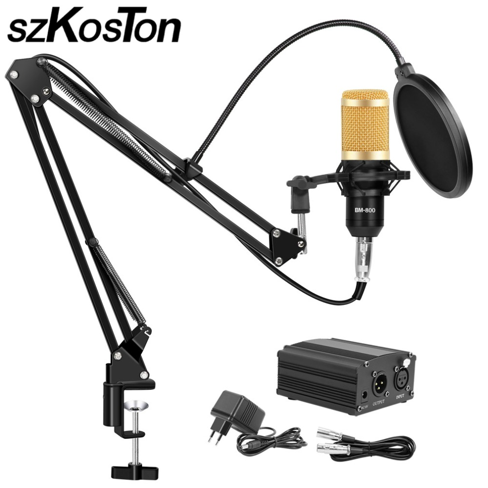 BM 800 Studio Microphone For Computer Karaoke Microphone With Mic Stand Professional Condenser Microphone Kit Studio Mikrofon